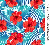 tropical flowers and palm...   Shutterstock .eps vector #723767158
