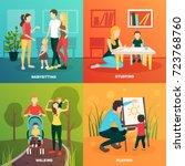 babysitters people flat 2x2... | Shutterstock .eps vector #723768760