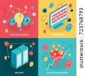 machine learning isometric 2x2... | Shutterstock .eps vector #723768793