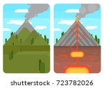 volcano and cross section of... | Shutterstock .eps vector #723782026