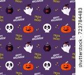 funny halloween vector seamless ... | Shutterstock .eps vector #723784483
