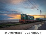 a freight train is traveling... | Shutterstock . vector #723788074
