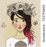 young beautiful asian woman... | Shutterstock .eps vector #723793603