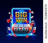 big win slots 777 banner casino.... | Shutterstock .eps vector #723803374