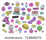 cartoon patches stickers or...   Shutterstock .eps vector #723808270