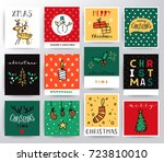 holiday set of christmas cards | Shutterstock .eps vector #723810010