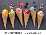 various of ice cream flavor in... | Shutterstock . vector #723810739