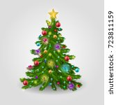 the christmas tree is decorated ... | Shutterstock .eps vector #723811159