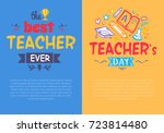 best teacher ever compliment... | Shutterstock .eps vector #723814480