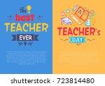 best teacher ever compliment... | Shutterstock .eps vector #723814480