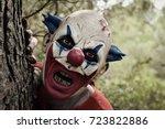 closeup of a scary evil clown... | Shutterstock . vector #723822886