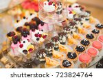 delicious sweets on wedding... | Shutterstock . vector #723824764