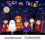 happy halloween. children in... | Shutterstock .eps vector #723825004