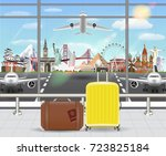 suitcase in airport with...   Shutterstock .eps vector #723825184