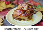 fried quail stuffed with... | Shutterstock . vector #723825589