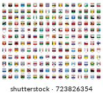 glossy square world flags.... | Shutterstock .eps vector #723826354