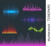 vector digital music equalizer... | Shutterstock .eps vector #723829690