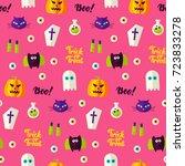 halloween boo seamless pattern. ... | Shutterstock .eps vector #723833278