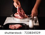 chops pork steak for grill pork ... | Shutterstock . vector #723834529