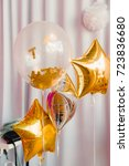 balloons and golden stars | Shutterstock . vector #723836680