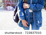 fashionable young woman in... | Shutterstock . vector #723837010