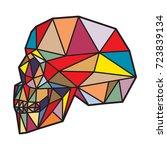 polygonal side view skull on... | Shutterstock .eps vector #723839134