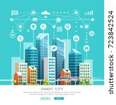 concept of smart city with... | Shutterstock .eps vector #723842524