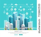 concept of smart city with... | Shutterstock .eps vector #723842533