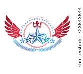 winged ancient star emblem... | Shutterstock .eps vector #723843844