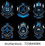 set of luxury heraldic vector...   Shutterstock .eps vector #723844084