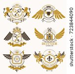 set of luxury heraldic vector... | Shutterstock .eps vector #723844090