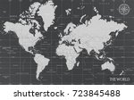 world minimal map with dark... | Shutterstock .eps vector #723845488