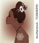 portrait of young beautiful... | Shutterstock .eps vector #723848590