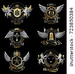 vector classy heraldic coat of... | Shutterstock .eps vector #723850384