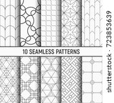 set of ten seamless patterns.... | Shutterstock .eps vector #723853639