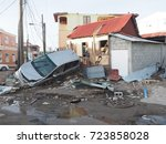 hurricane maria on the island... | Shutterstock . vector #723858028
