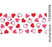 abstract love pattern of hearts.... | Shutterstock .eps vector #723858508