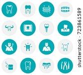 set of 16 teeth icons set... | Shutterstock .eps vector #723861589