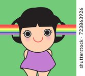 smiling girl face with rainbow... | Shutterstock .eps vector #723863926