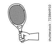 hand human with tennis racket | Shutterstock .eps vector #723864910