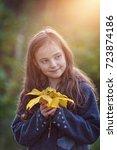 portrait of a cute little girl... | Shutterstock . vector #723874186