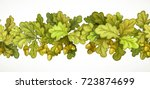 seamless horizontal autumn... | Shutterstock .eps vector #723874699