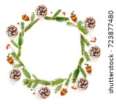 traditional wreath background... | Shutterstock . vector #723877480