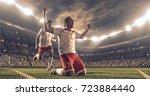 soccer players celebrate a... | Shutterstock . vector #723884440