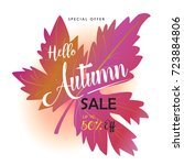 autumn sale text banner for... | Shutterstock .eps vector #723884806