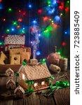 adorable christmas gingerbread... | Shutterstock . vector #723885409