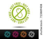 nut free badge  logo  icon.... | Shutterstock .eps vector #723889408
