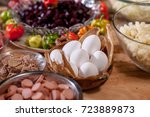assorted sausages and... | Shutterstock . vector #723889873