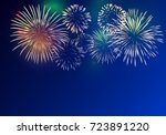brightly colorful fireworks on... | Shutterstock .eps vector #723891220