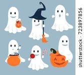 set of vector ghosts for... | Shutterstock .eps vector #723897856